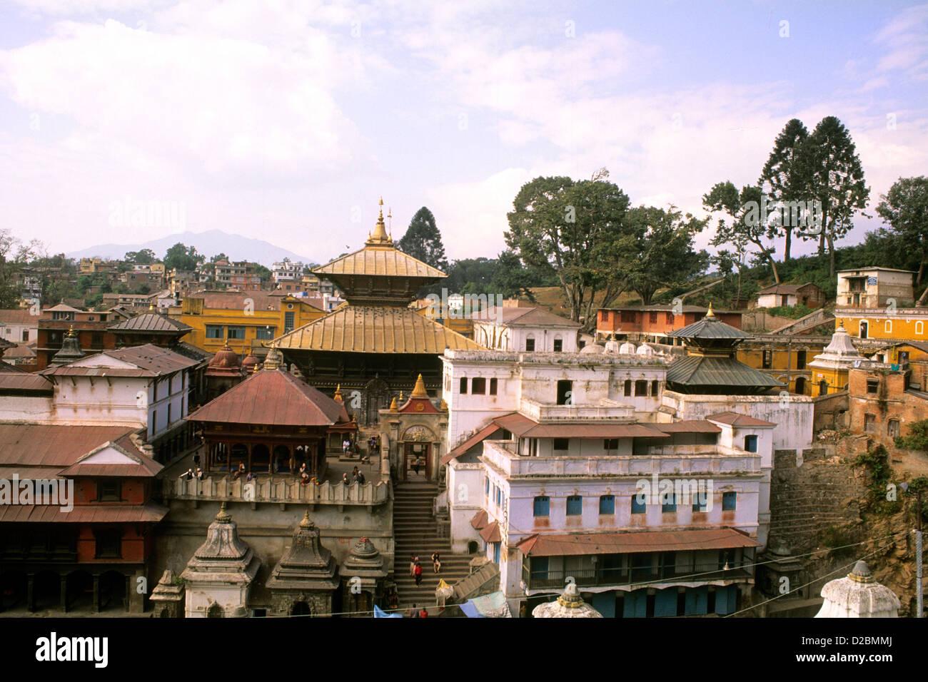 Nepal, Katmandu. Pashupatinath Temple. - Stock Image