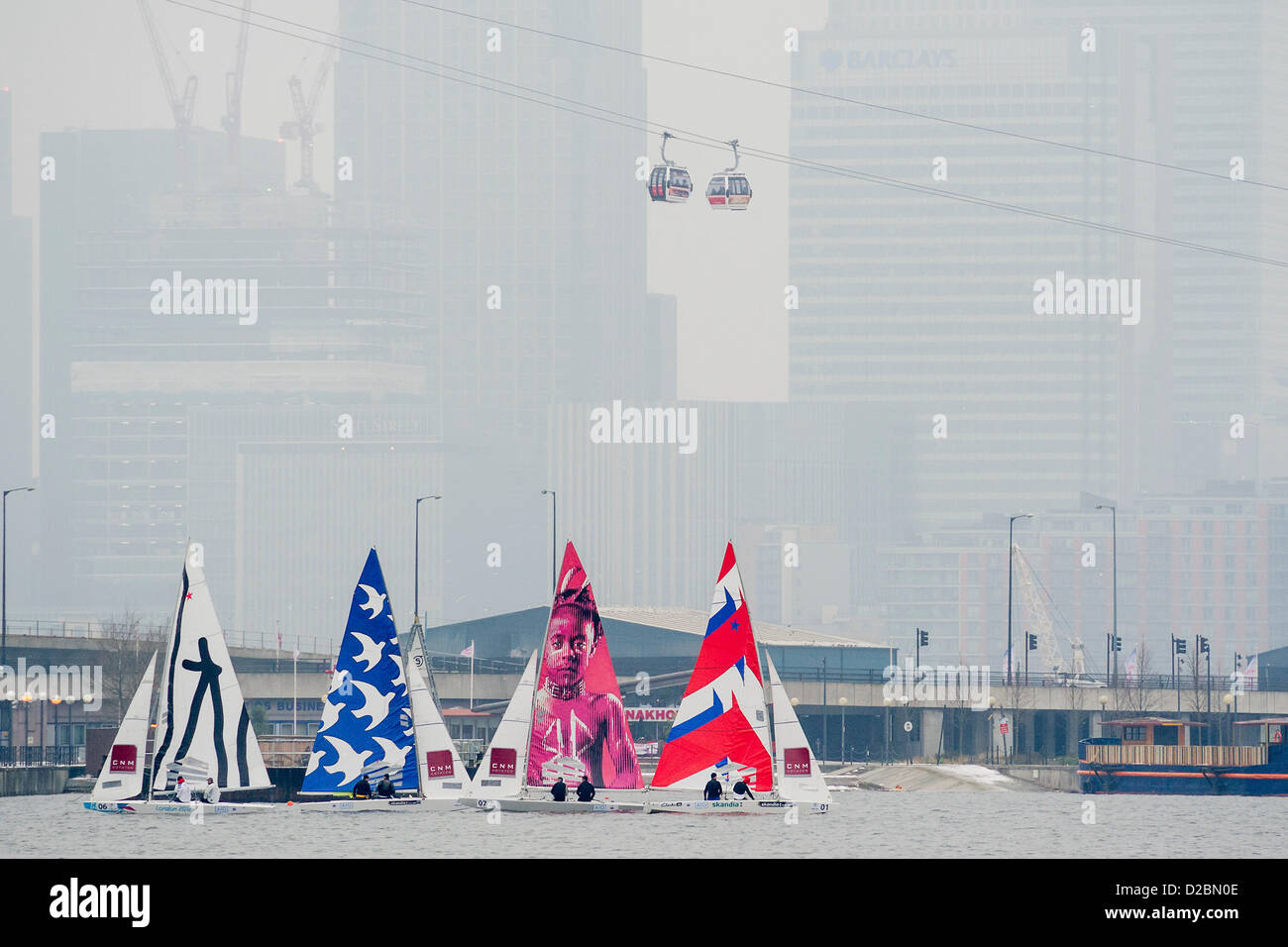 Star Class boats are raced by 20 Olympic and World champion sailors – including triple Olympic medalist Iain Percy, - Stock Image
