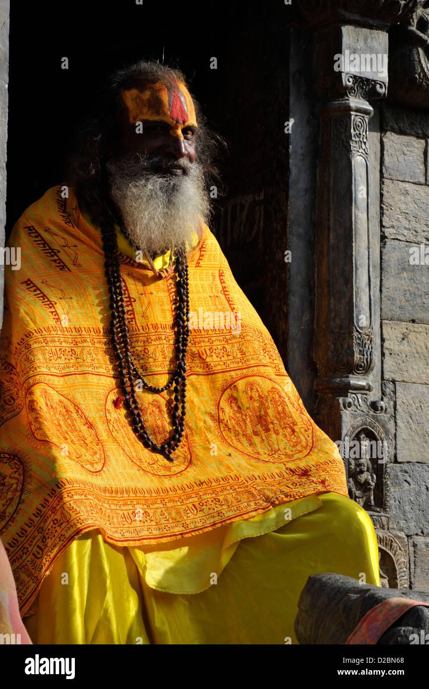 fake sadhu posing - Stock Image