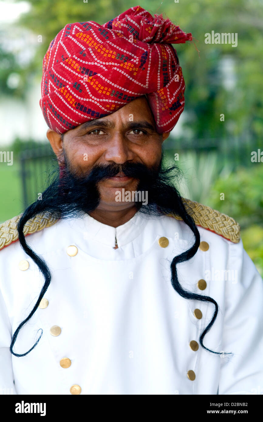 Doorman With Moustache And Smile At Park Plaza Hotel In Jaipur Rajasthan India - Stock Image