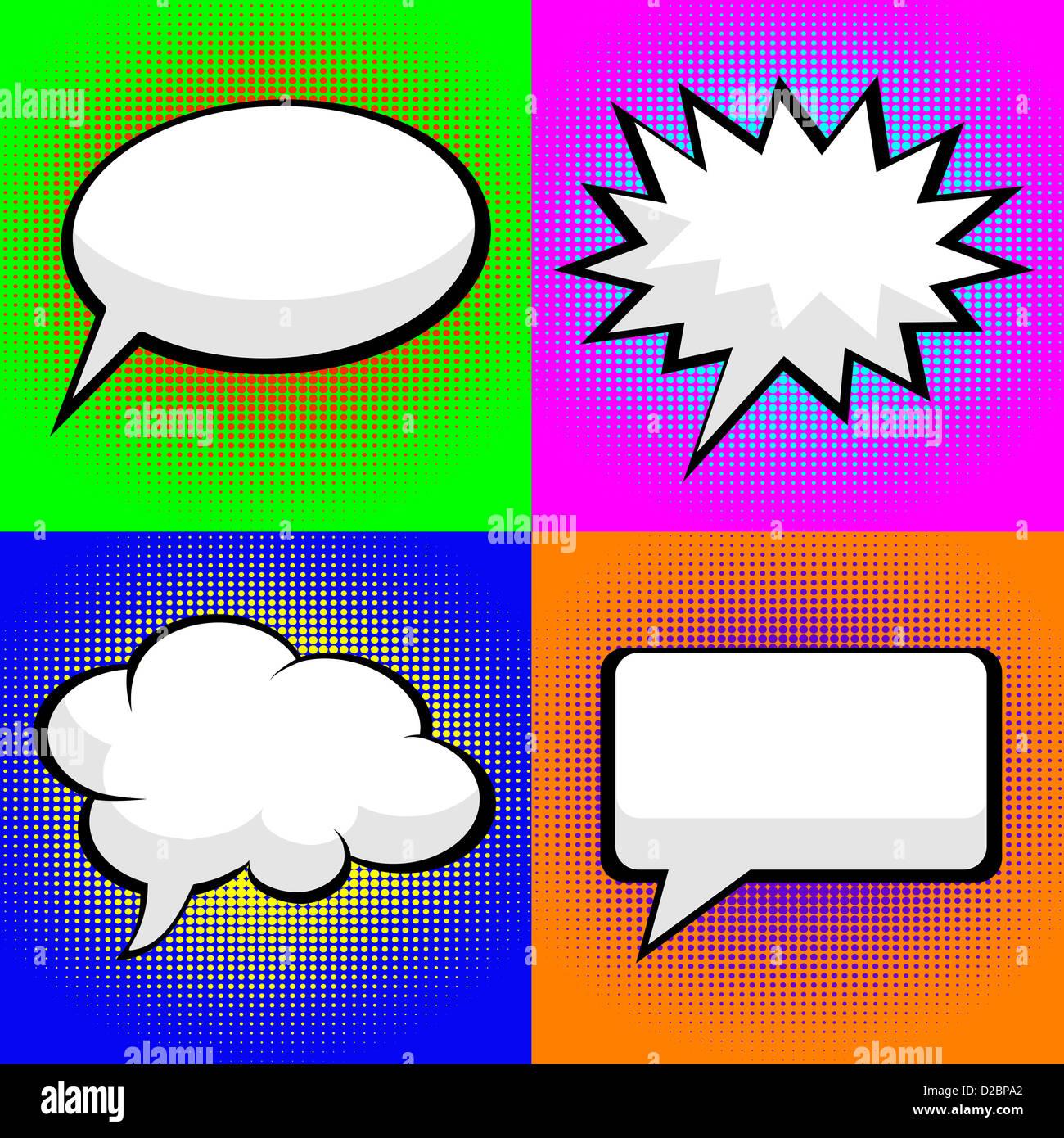 pop art comic speech bubbles - Stock Image