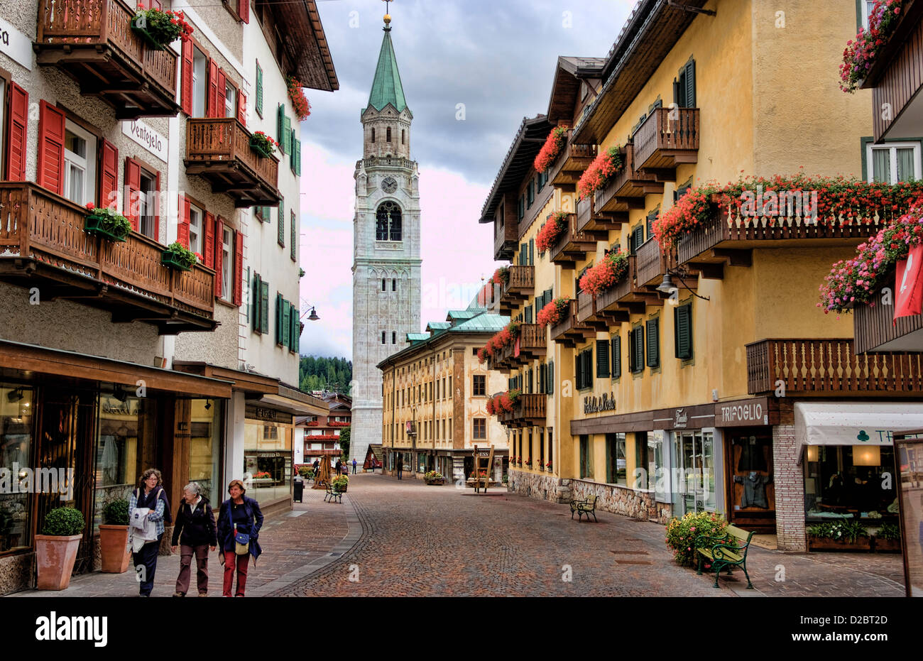Architecture And Buildings Of Cortina D' Aamezzo In Italian Alps Dolomites Mountains In Town Center. Italy - Stock Image