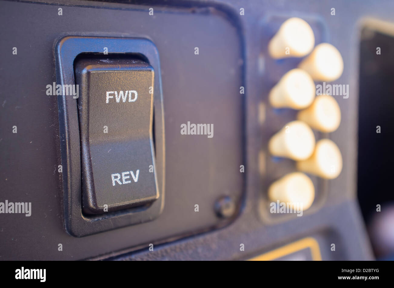 Close up of instrument panel of electric golf cart with forward and reverse switch and tee reservoir , Texas, USA - Stock Image