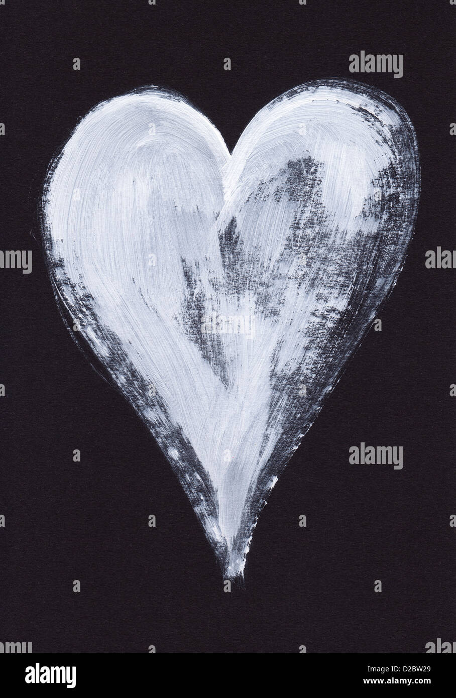 White heart acrylic painting on black paper stock photo 53121553