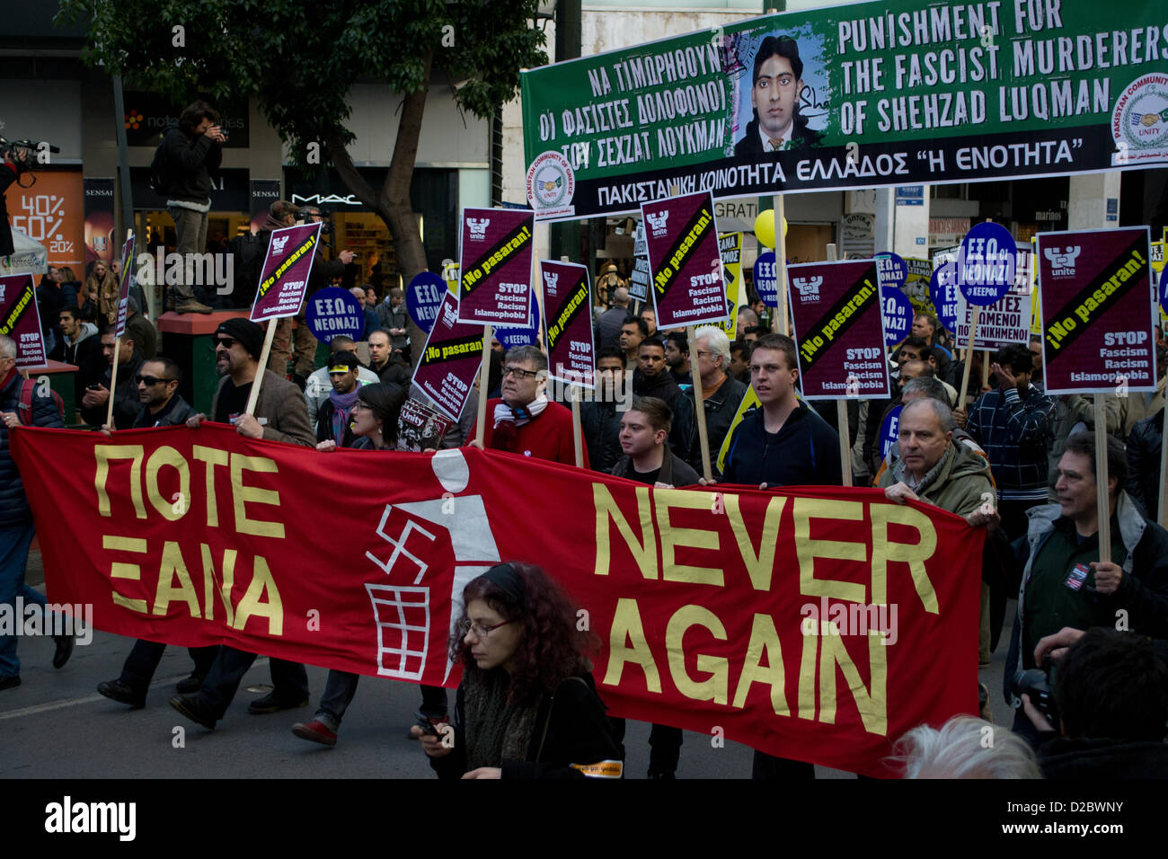 Athens, Greece, 19th Januray 2013. Immigrants and locals take to the streets to condemn fascism and protest against - Stock Image