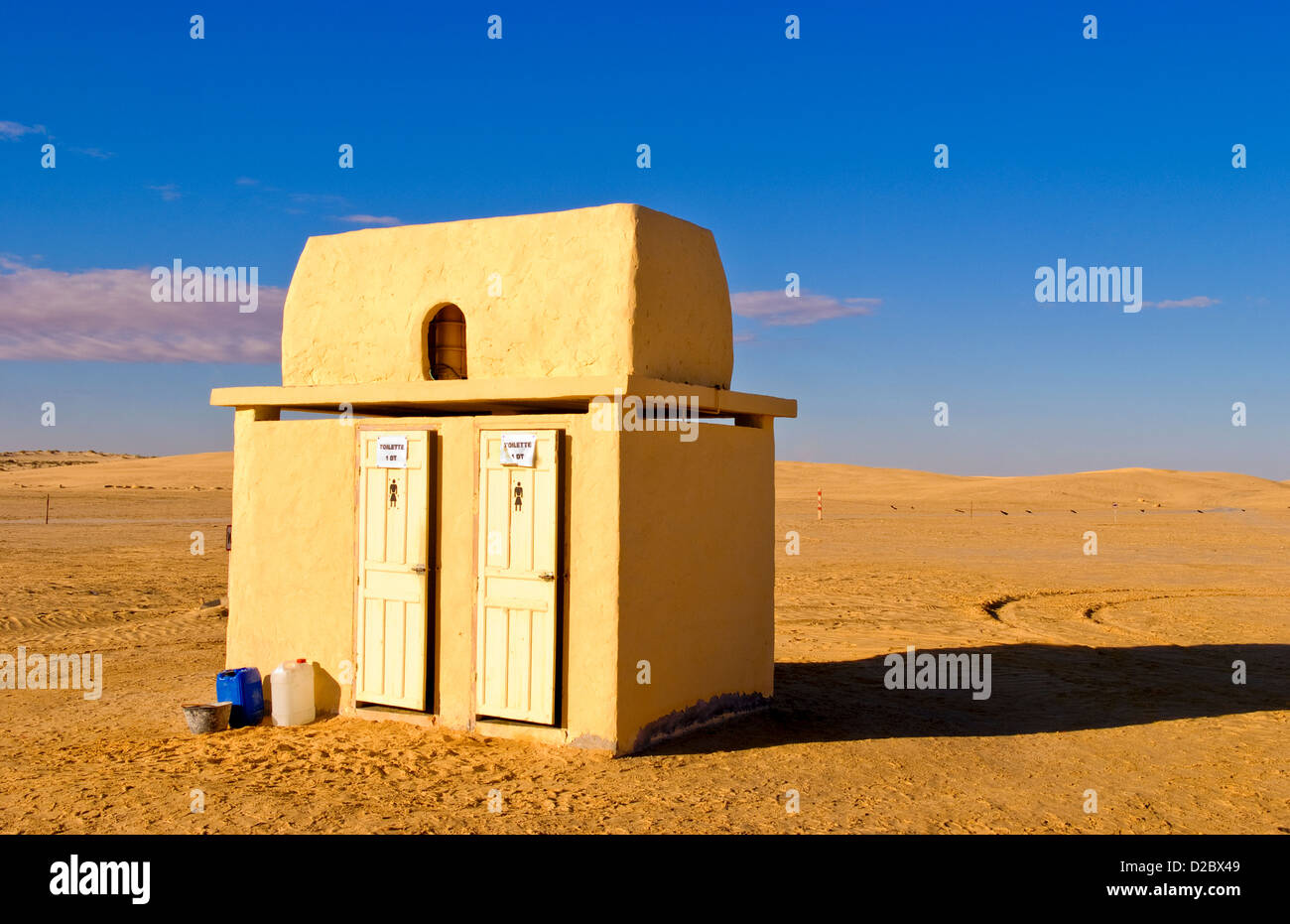 Toilets In The Middle Of Nowhere At Star Wars Movie Set Near Tozeur, Tunisia - Stock Image