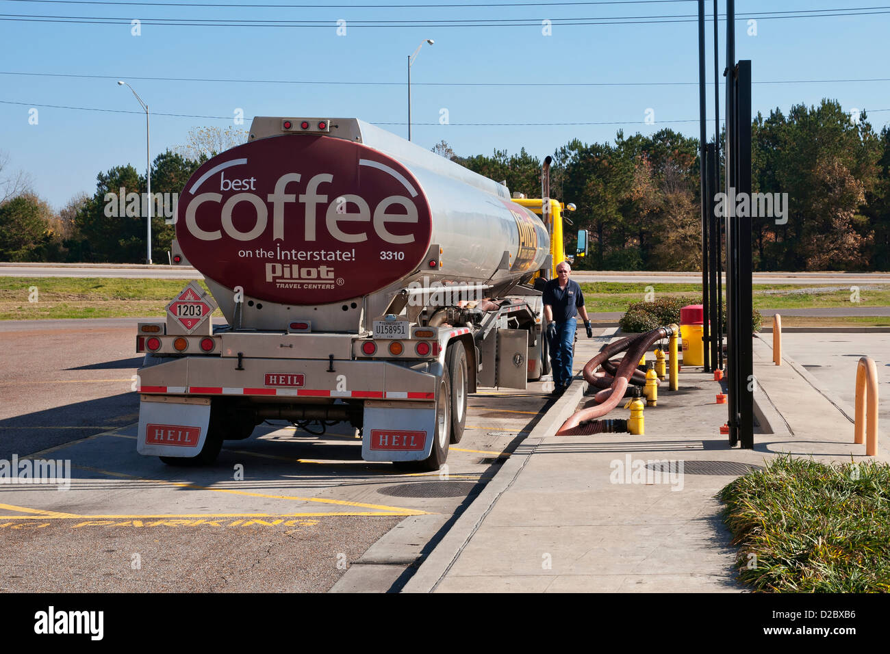 Driver refueling of The Coffee Tanker Truck,Travel Center ,Mississippi,USA,North America - Stock Image