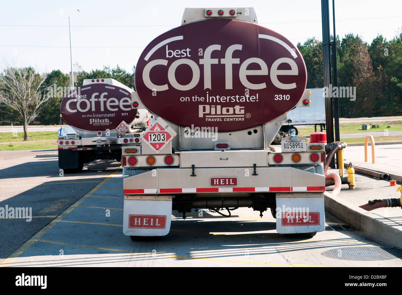 Coffee Tanker Truck on the Travel Center , Mississippi, USA, North America - Stock Image