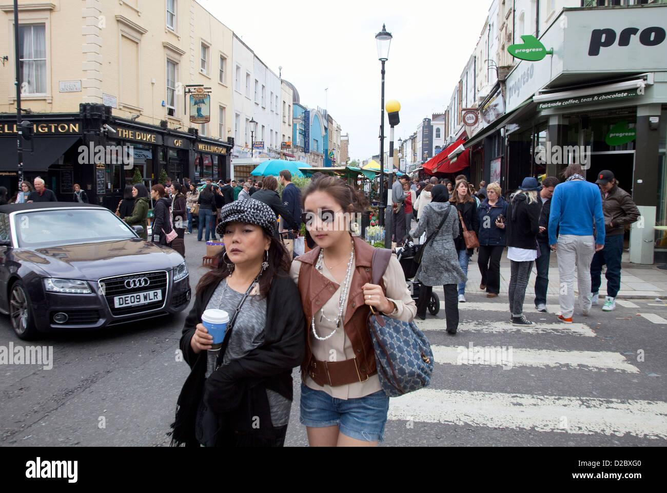 London, United Kingdom, Women on the Portobello Road in Notting Hill - Stock Image