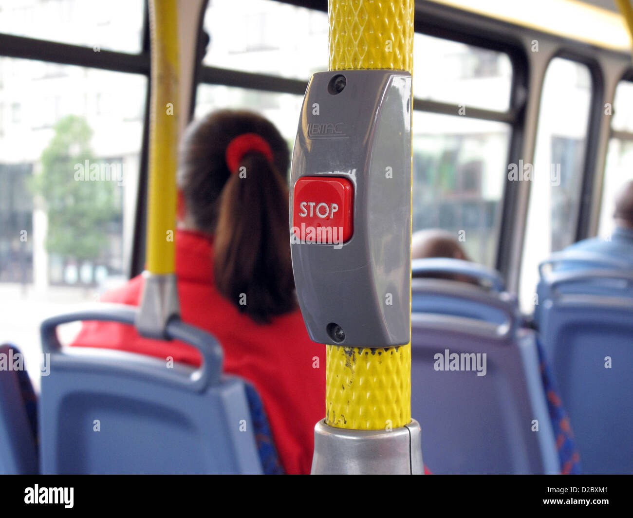London, United Kingdom, stop request button in a double-decker bus - Stock Image