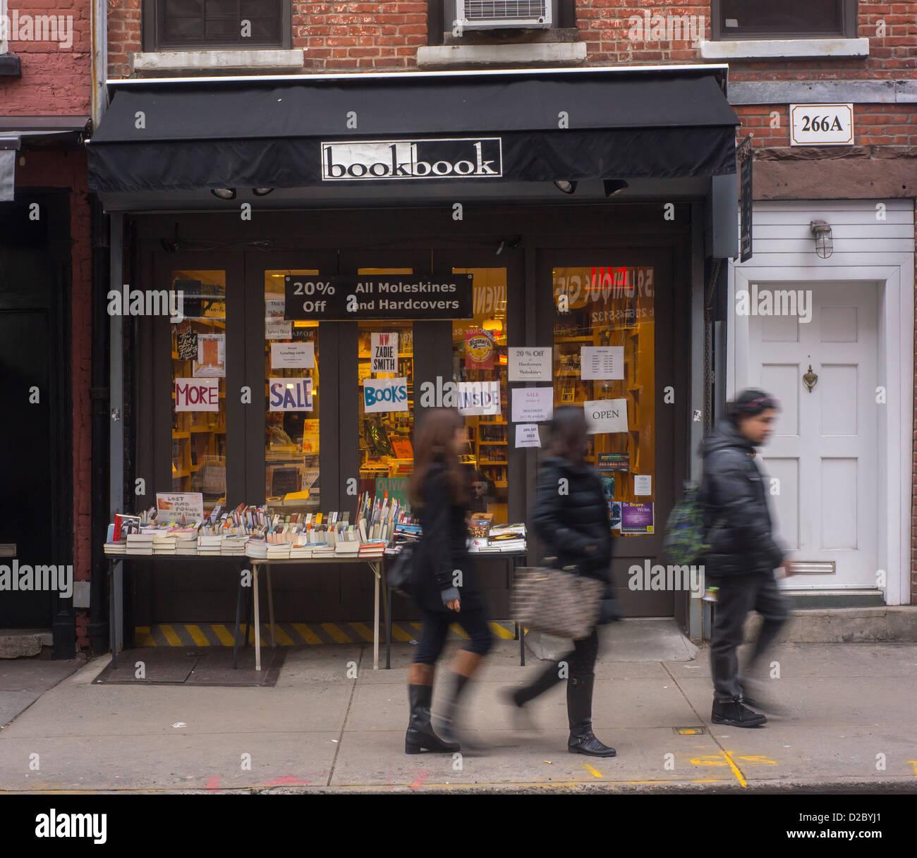 'bookbook', an independent bookstore is seen on Bleecker Street in the Greenwich Village neighborhood of - Stock Image