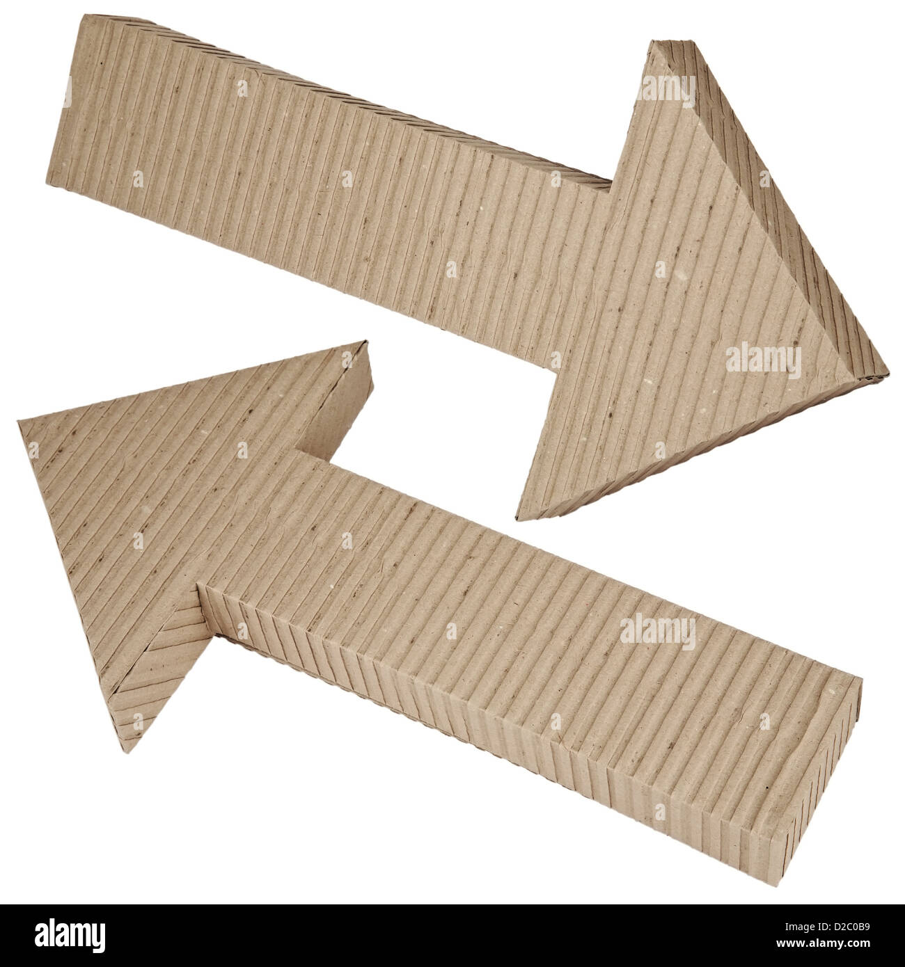 Corrugated Cardboard Arrow Pointing Upwards And The Left And