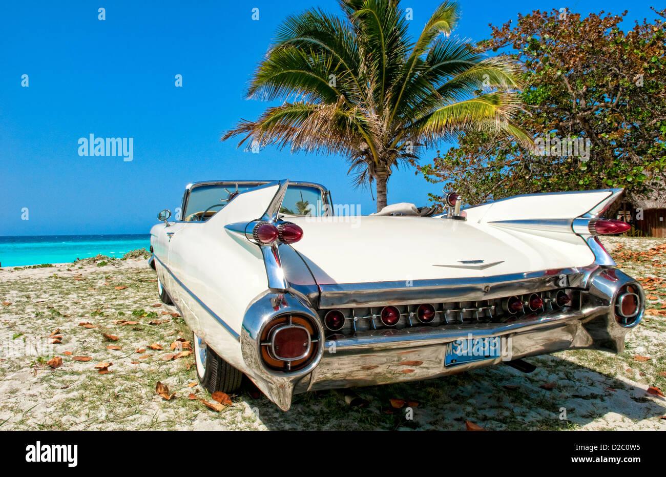Classic 1959 White Cadillac In Veradara, Cuba - Stock Image