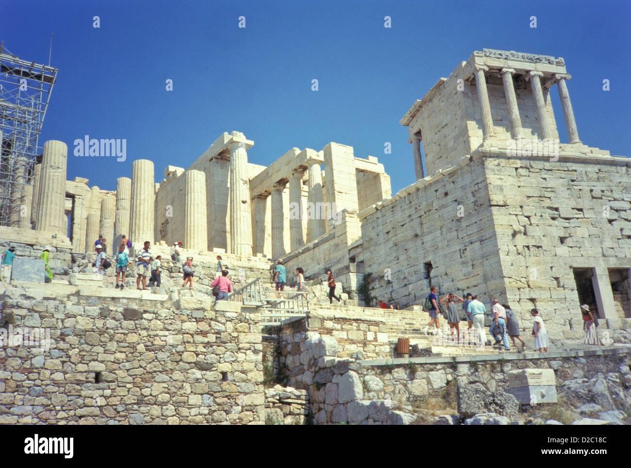 Greece, Athens, Acropolis - Propylaea, Temple Of Athena Stock Photo