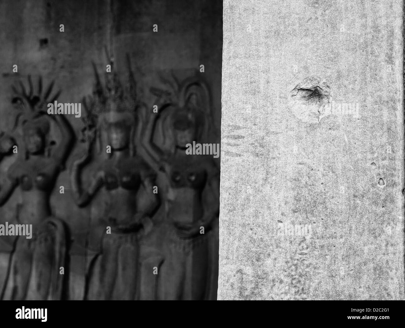 Bullet hole in Angkor Wat, Cambodia - Stock Image