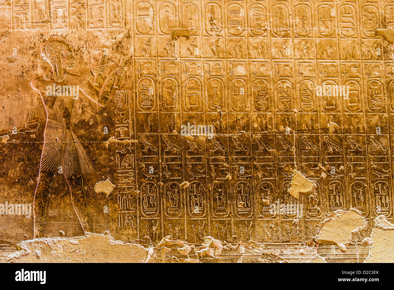 Abydos King list at the Memorial temple of Seti I, Abydos, Egypt - Stock Image