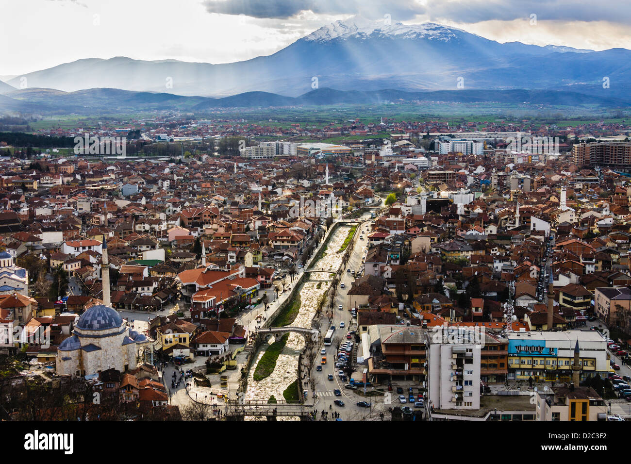 Prizren overview from the castle with Sar Mountains in background, Kosovo Stock Photo