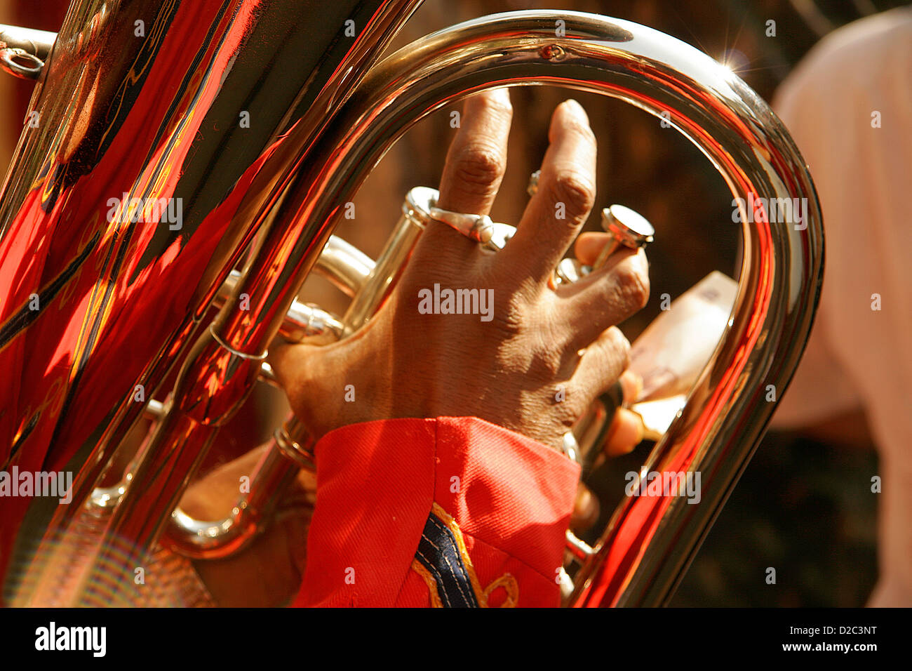 Trumpet Called 'Baja' Played During Indian Marriage Processions, India - Stock Image