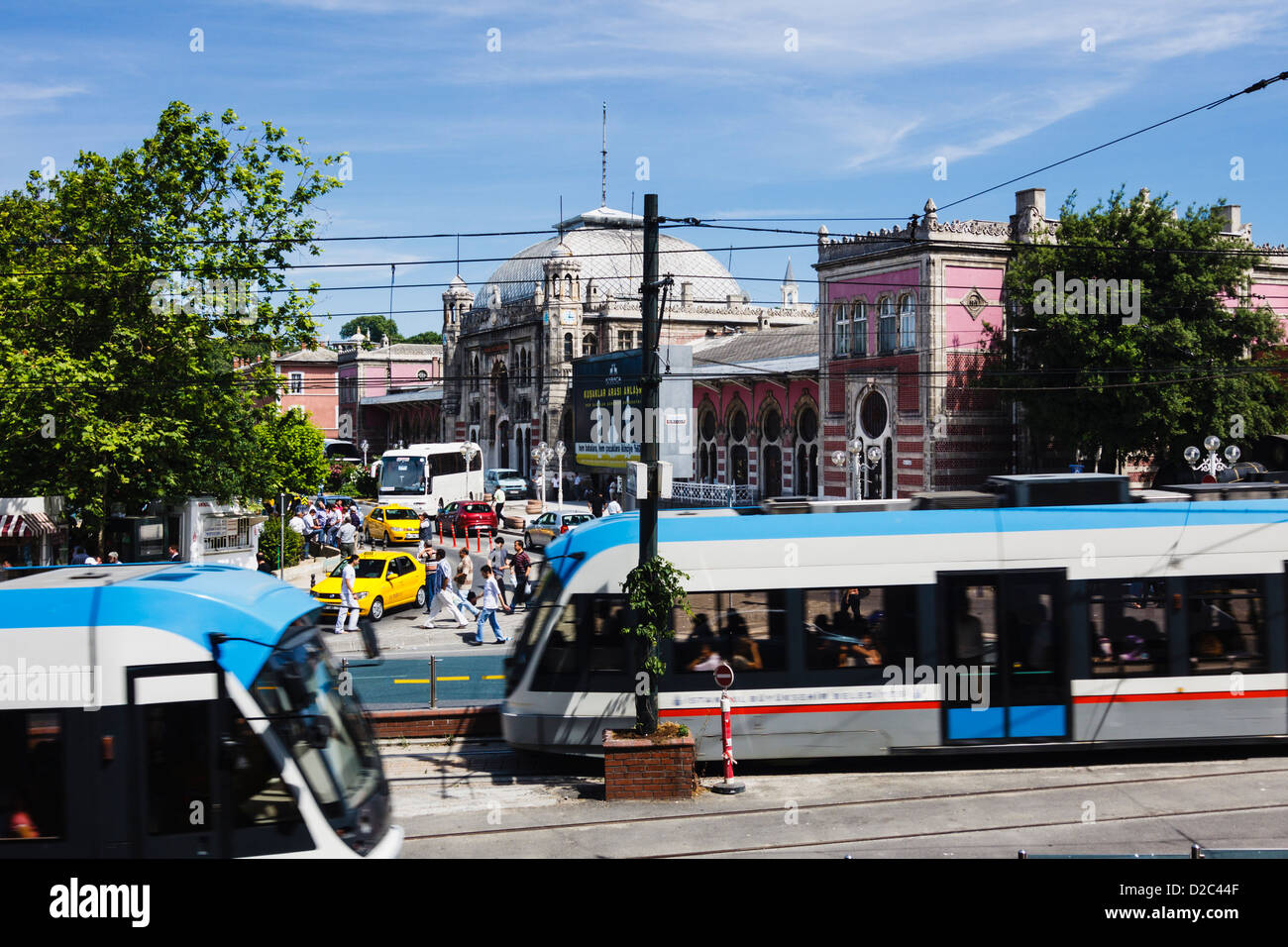 Streetcars next to Sirkeci Terminal. Istanbul, Turkey - Stock Image
