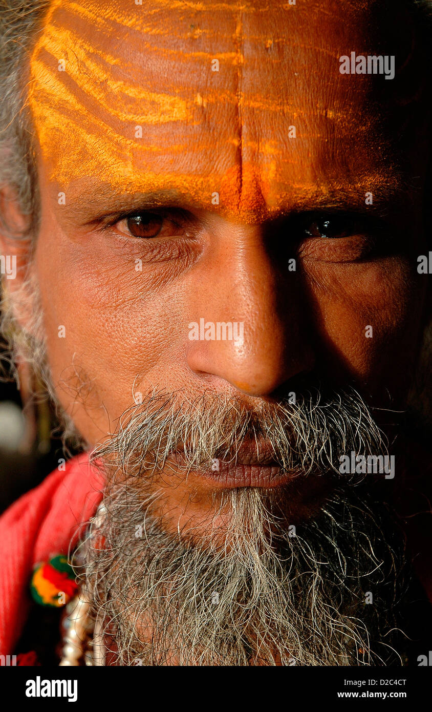 Indian Bearded Priest With Tilak Or Markings On Forehead, Ujjain, India - Stock Image