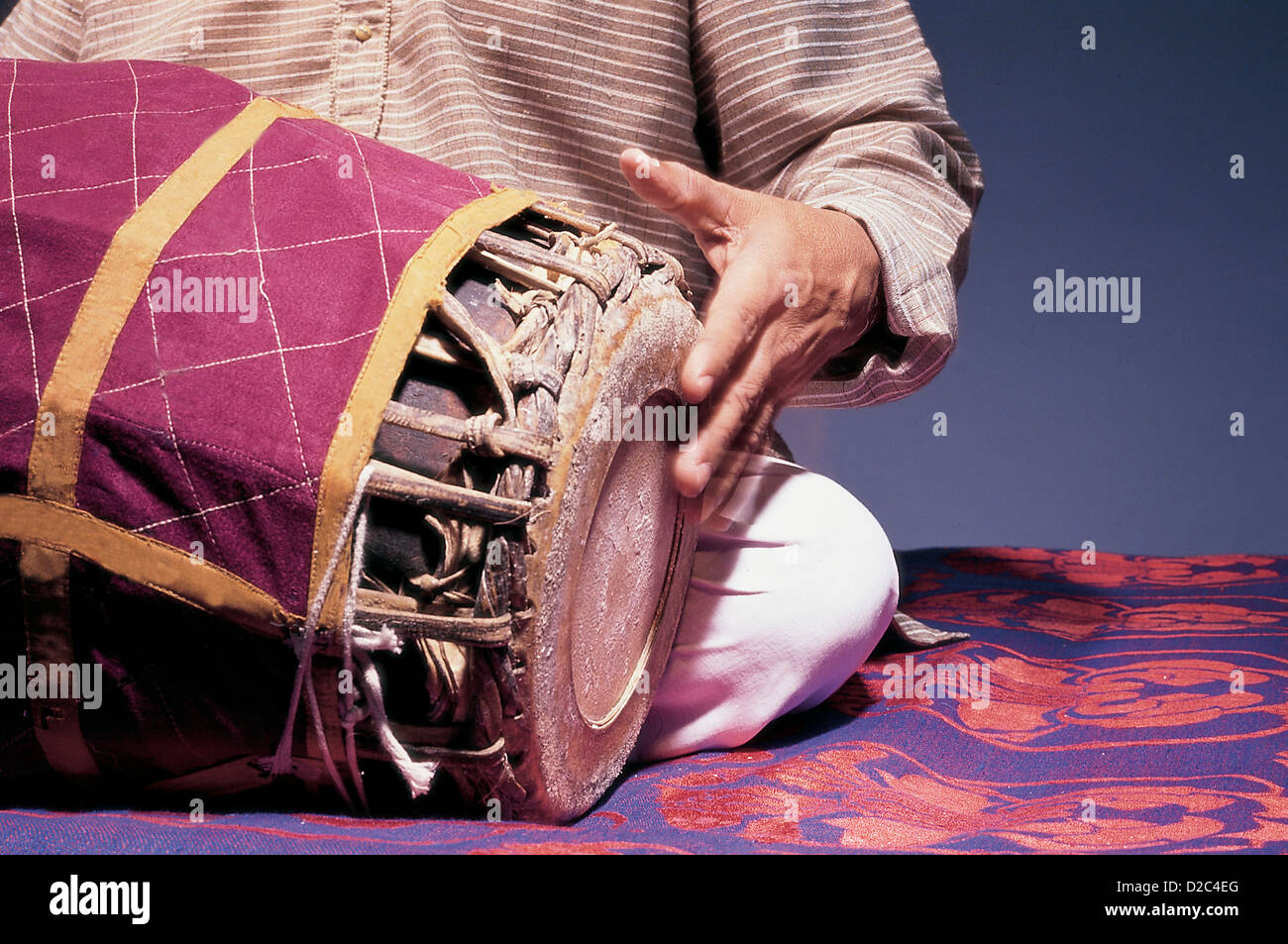 Indian Classical Musician Playing With Left Hand Percussion Musical Instrument Mridangam In Concert, India - Stock Image