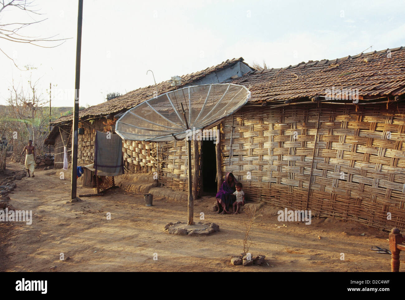 Dish Antenna Fixed In Village, Nandurbar, Maharashtra, India - Stock Image