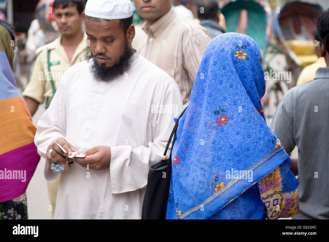Muslim Bearded Man And Woman In Blue Sari, Lalbagh Fort, Dhaka, Bangladesh (Also Known As Fort Aurangabad) - Stock Image