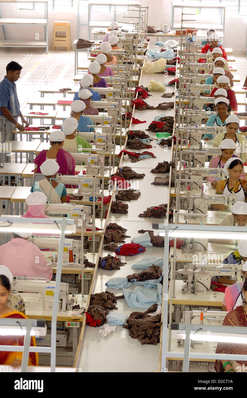 Readymade Garment Factory Interior People Working On Sewing