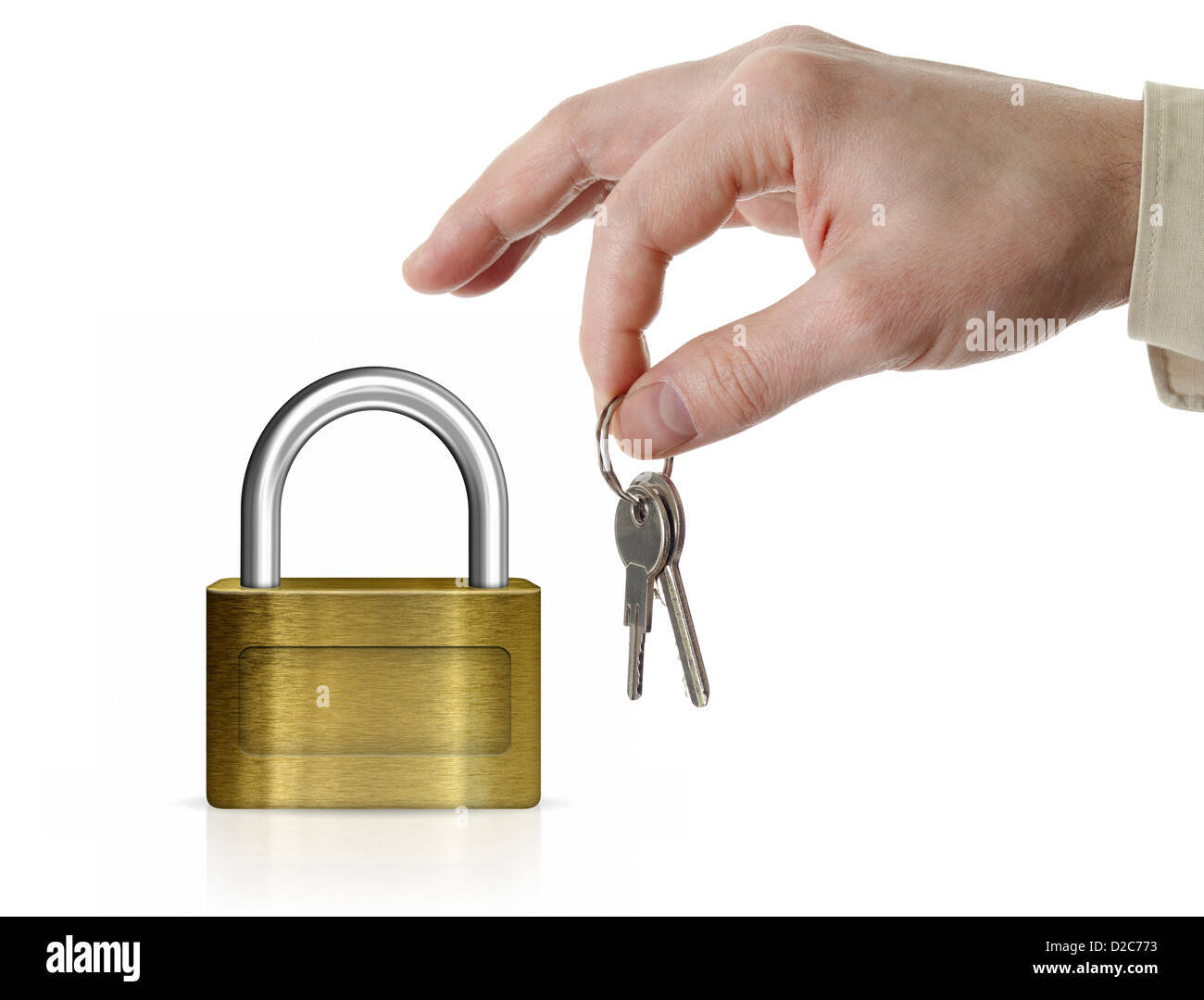 Closed lock with copyspace and man's hand holding set of keys isolated on white - Stock Image