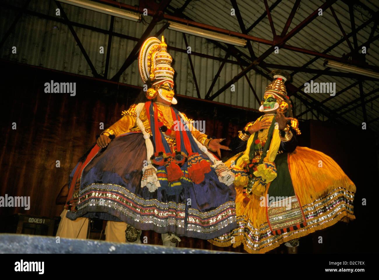 India. Classical Performance Depicting Krishna & His Brother Balarama-Kalinka - Stock Image