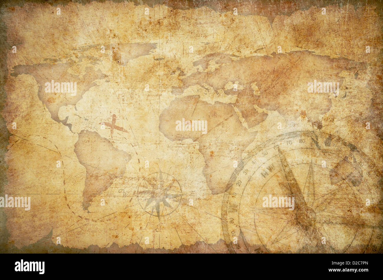 aged treasure map with compass background stock photo 53129965 alamy