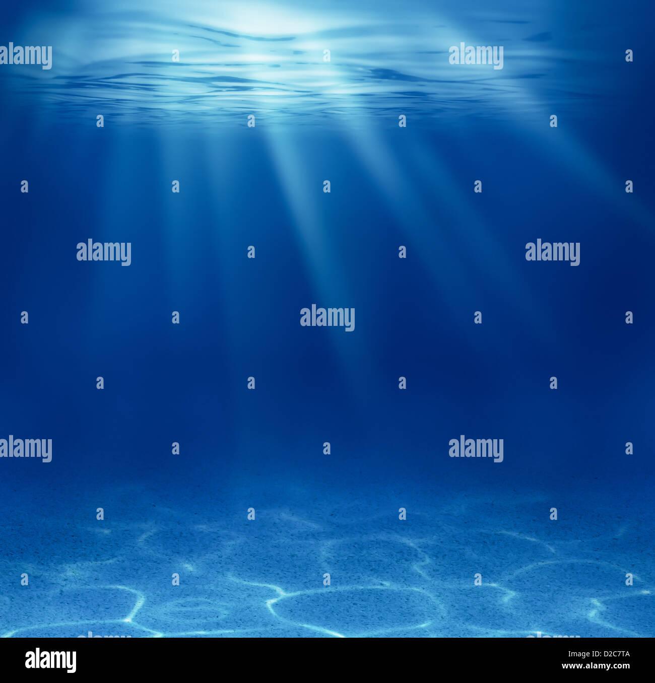 blue deep sea underwater background - Stock Image