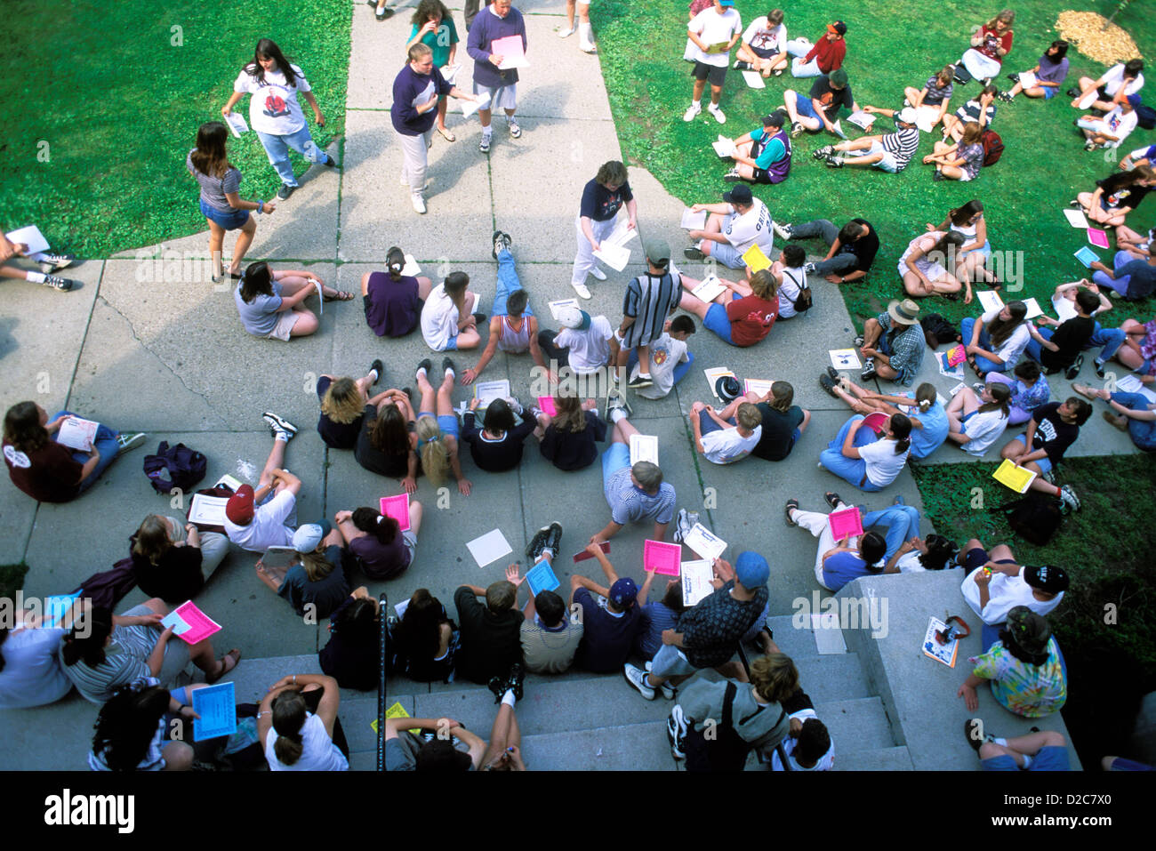 Students And Faculty Outdoors - Stock Image