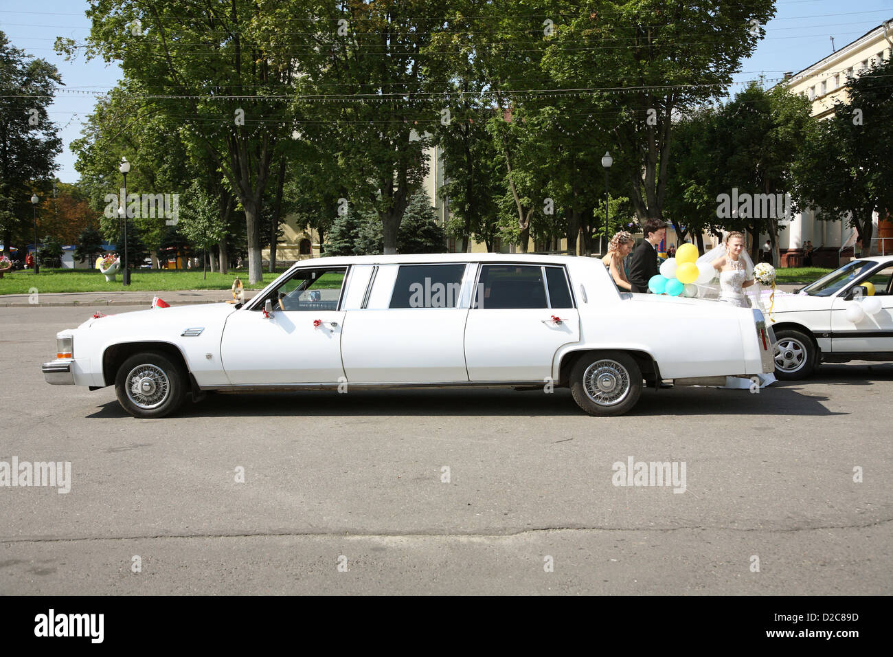 Gomel, Belarus, Hochzeitsgaeste stand at a rented limousine - Stock Image