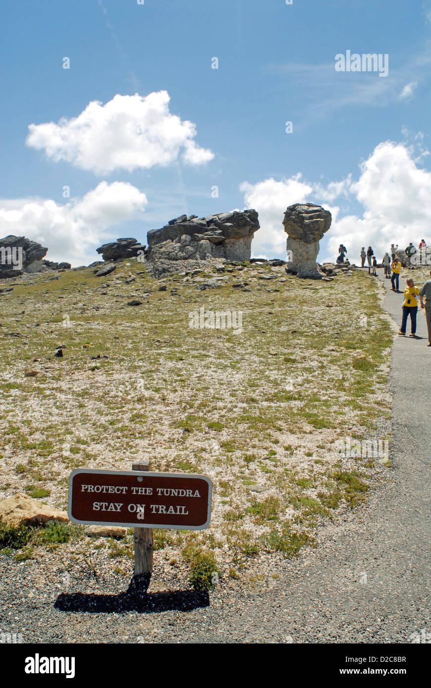 Tundra Communities Trailhead, Hiking Trail, Rocky Mt. National Park, Colorado Stock Photo