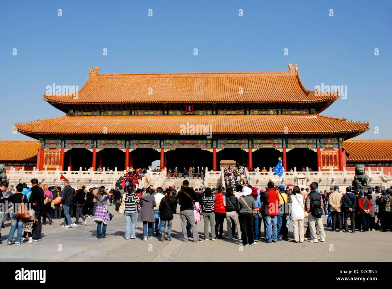 Gate Of Supreme Harmony, Forbidden City, Beijing, China - Stock Image
