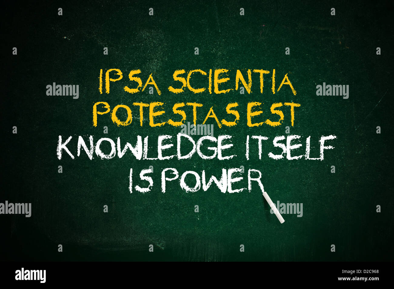 Knowledge Is Power. Latin Quote Handwritten With Chalk On A Green School  Board.