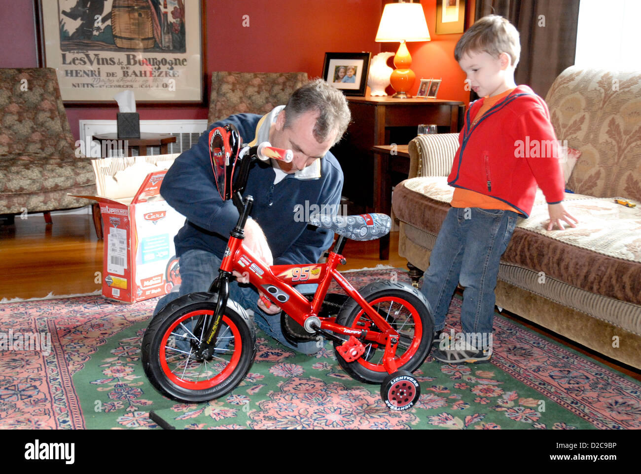3 Year Old Boy And Father Winchester Massachusetts Bike With