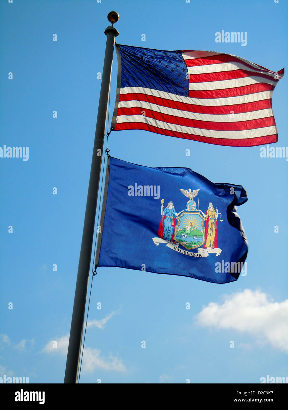 New York State And United States Flags - Stock Image