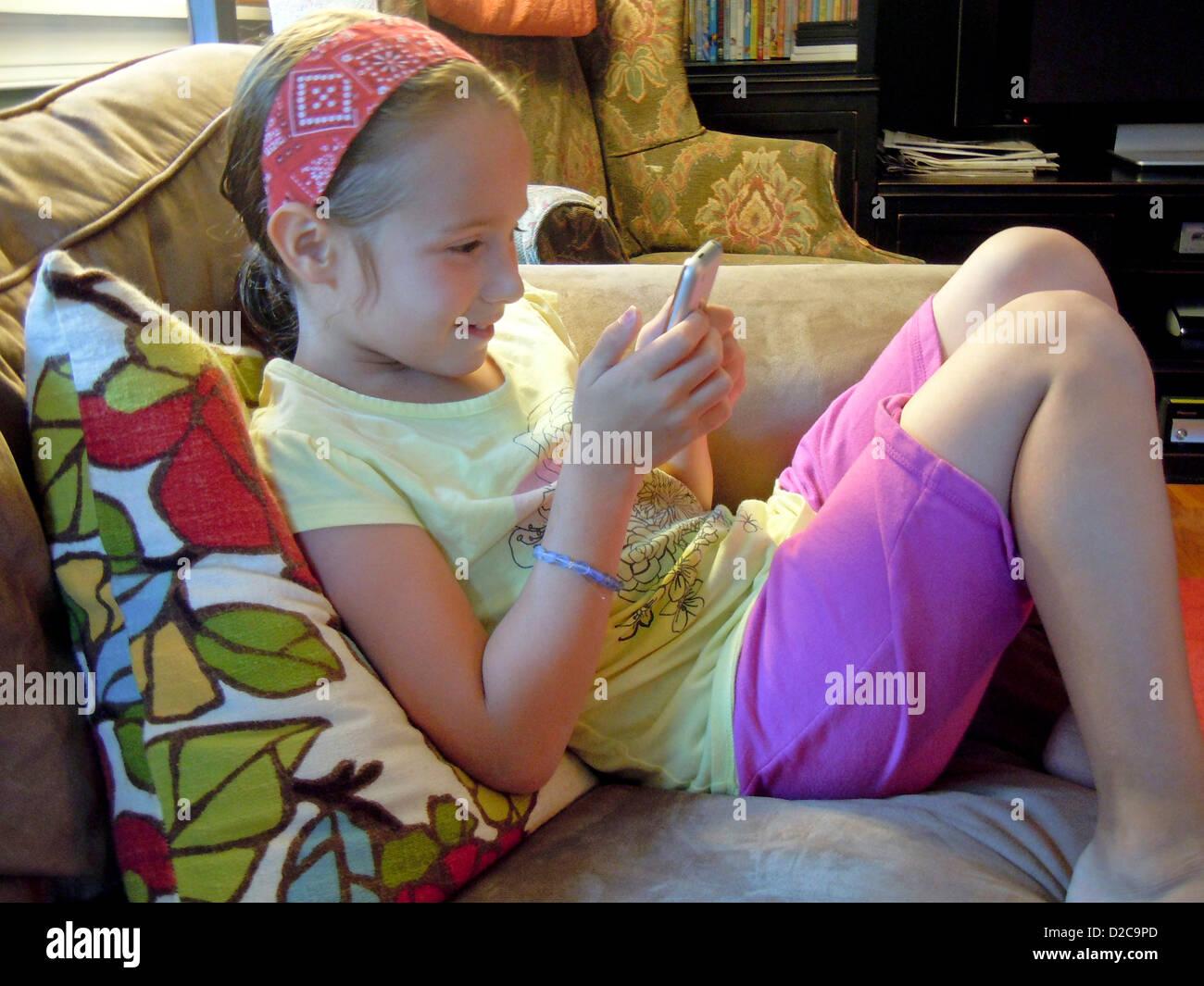 7 Year-Old Girl, Winchester, Massachusetts - Stock Image