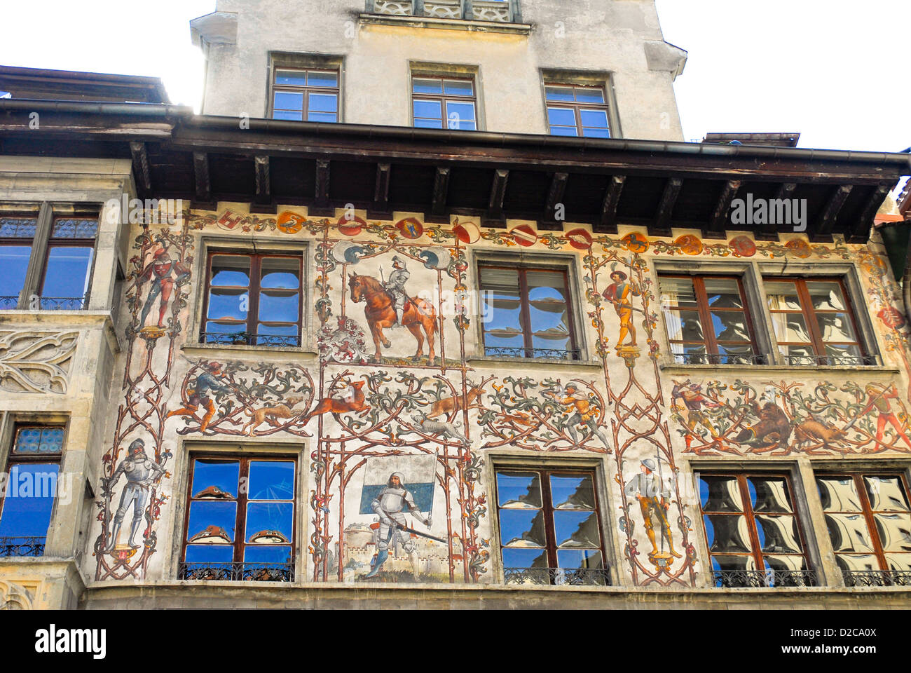 Swiss Building Facade, Lucerne, Switzerland - Stock Image