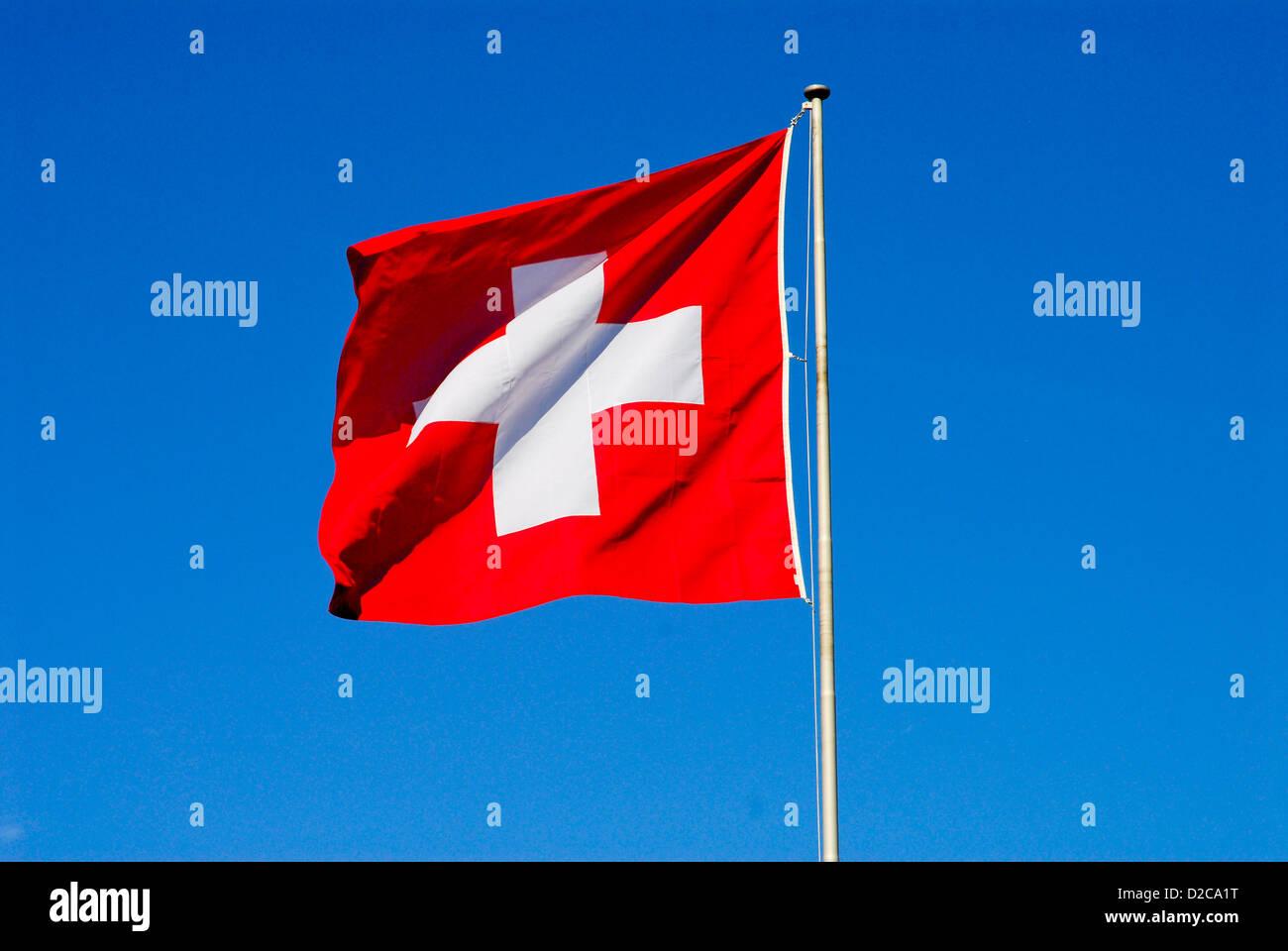 Swiss Flag, Switzerland - Stock Image