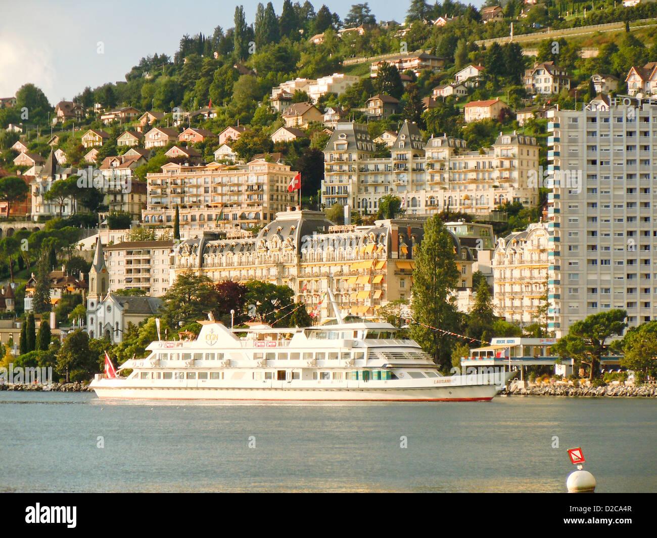 Cruise Ship, Montreux, Switzerland - Stock Image
