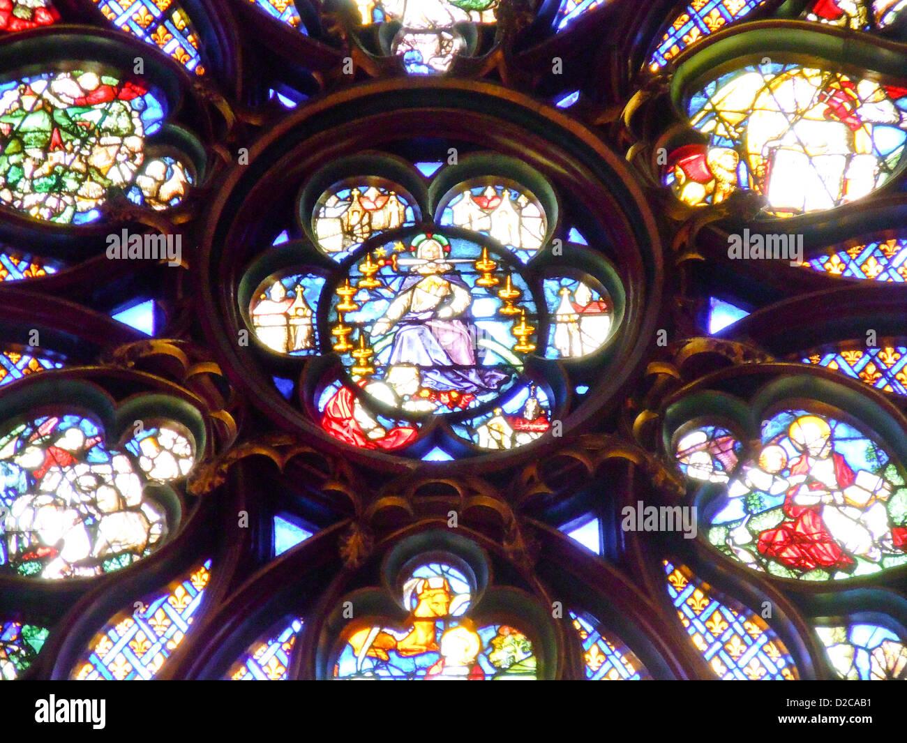 Rose Window Detail, Sainte Chapelle, Paris, France - Stock Image