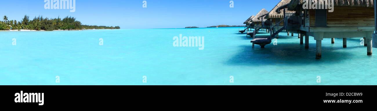 Panoramic view of Paradise Island Resort overwater bungalow - Stock Image