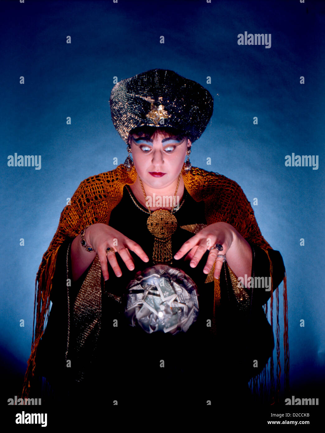 Fortune Teller Looking Into Crystal Ball, Filled With Money