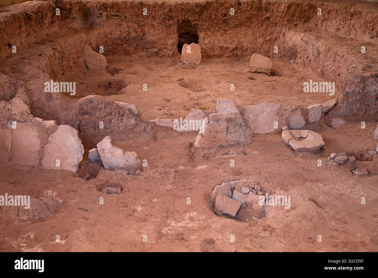 ruins of a kiva, room used for religious rituals of pre-Columbian Anasazi indians, Mesa Verde National Park in Colorado, Stock Photo