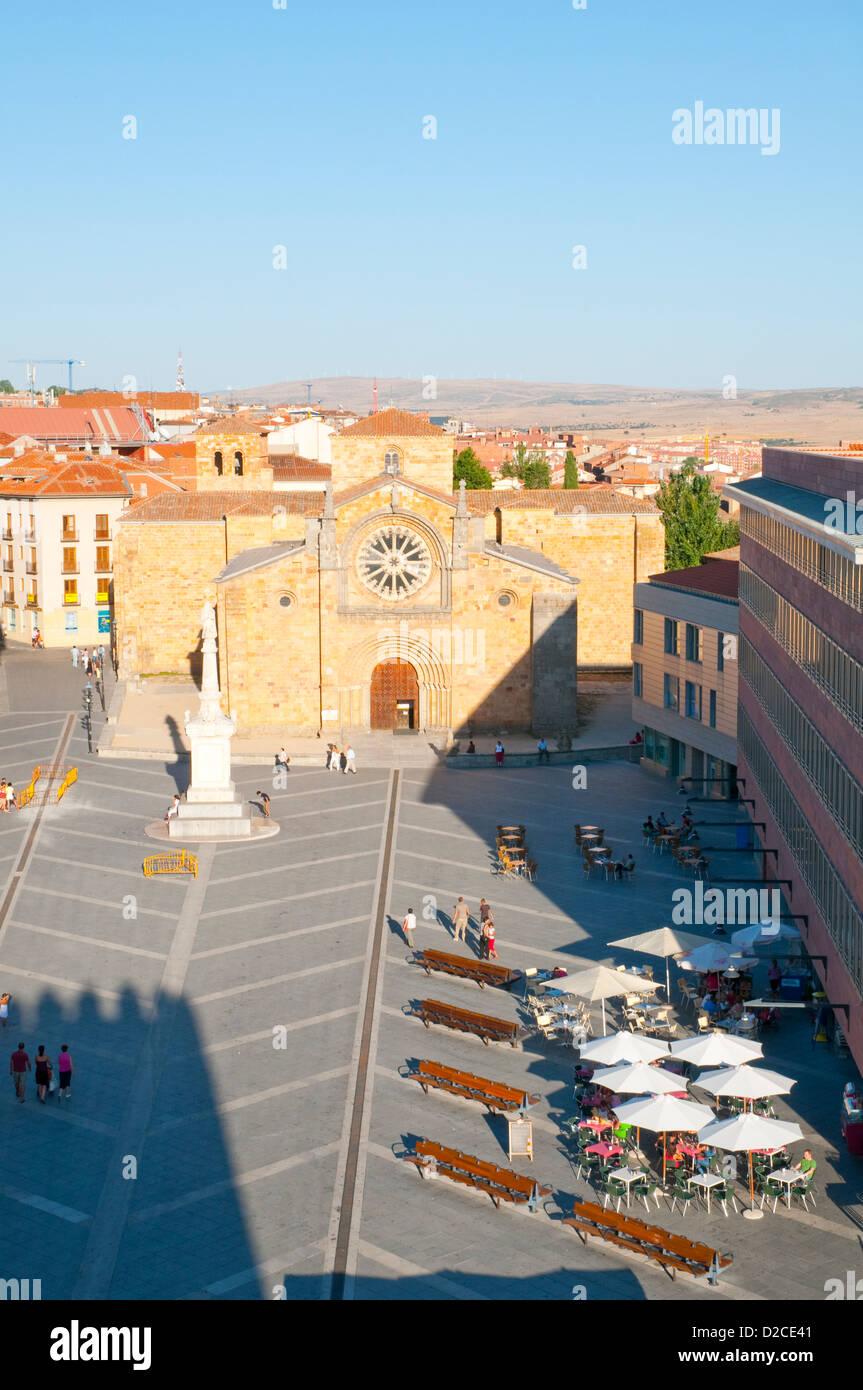 Santa Teresa Square, viewed from the city wall. Avila, Castilla Leon, spain. - Stock Image
