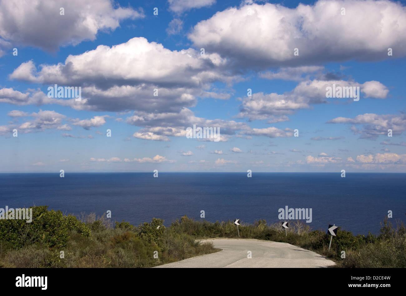 Coastal road on Pelion Peninsula (Thessaly, Greece) - Stock Image