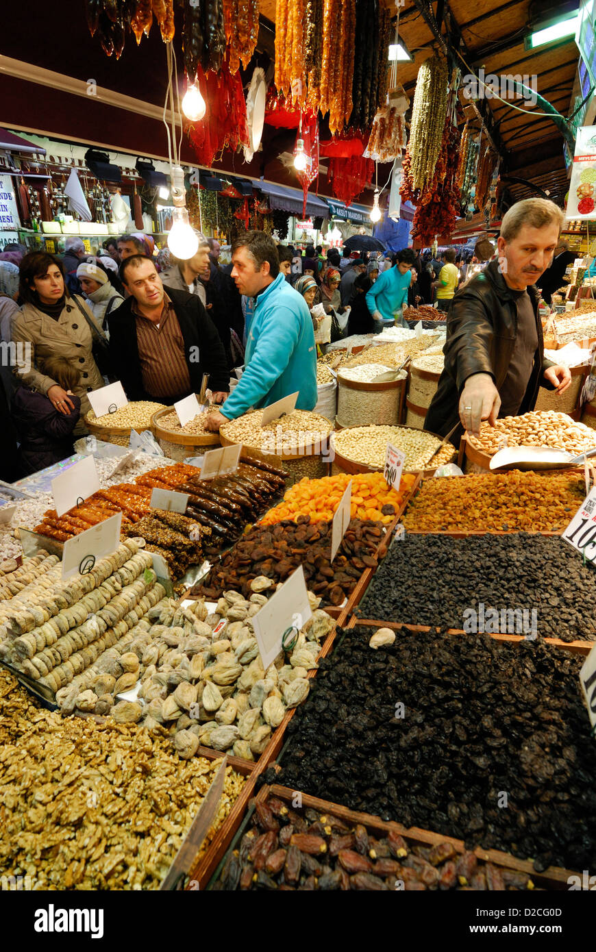 Istanbul. Turkey. Nuts & dried fruits at the Spice Bazaar aka Egyptian Bazaar. - Stock Image